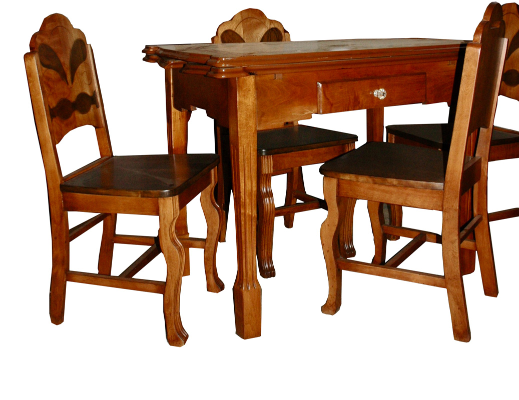 Vintage Enamel Top Table <br> with 4 side chairs<br> $975