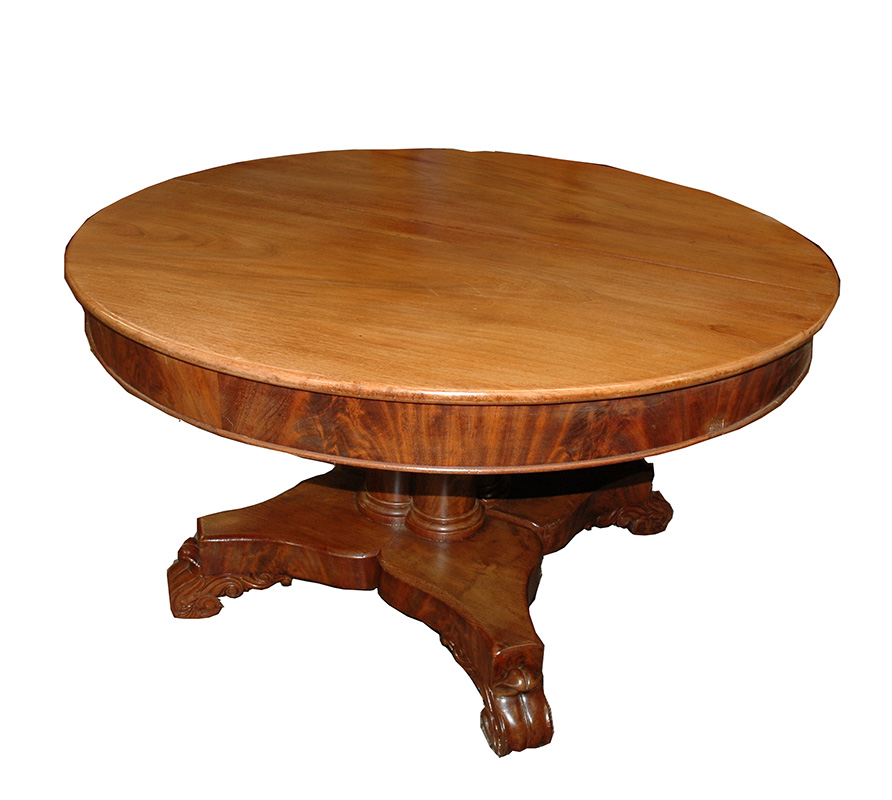 Victorian Round Solid Mahoghany Table w/2 leaves, 49.5 Round - $1500